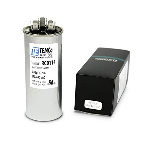 TEMCo 45+5 uf/MFD 370-440 VAC Volts Round Dual Run Capacitor 50/60 Hz AC Electric - Lot -1
