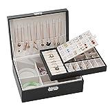 Baozun Joyero de viaje, de piel sintética, para anillos, pendientes, pulseras y collares