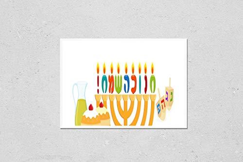 Poster Reproduction of Jewish holiday of Hanukkah, banner with greeting inscription hebrew - Happy Hanukkah, hanukkah menorah, traditional holiday candelabrum, sufganiyot doughnuts, oil jug and