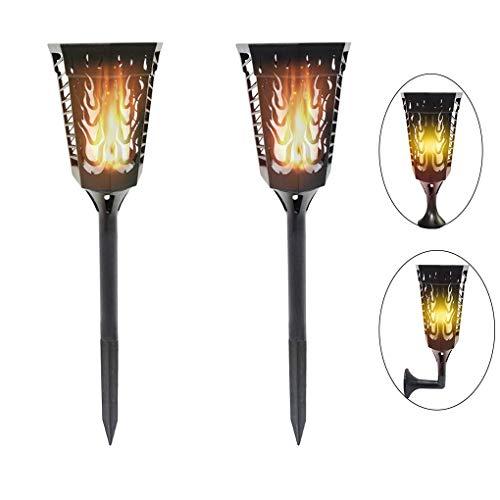 Solar Garten Licht - Wasserdicht IP65 96 LED Fackeln mit Flamme, Solarlampen für Außen LED Solar Taschenlampe, soalr spotlight Außen, 2 Stück