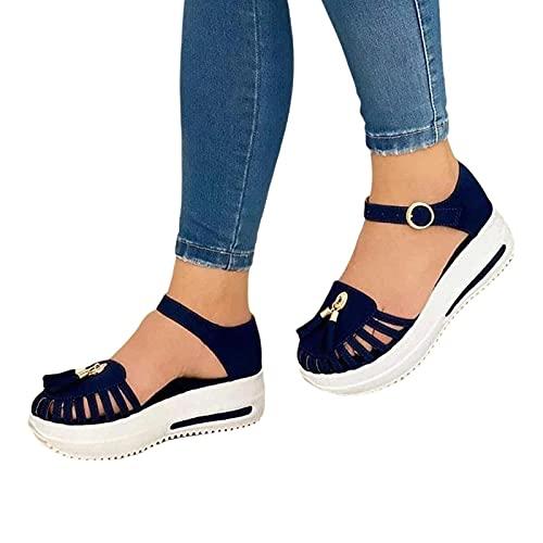 Sandalias de cuña para mujer de goma antideslizante hebilla plataforma Tacones moda casual sandalias para mujer