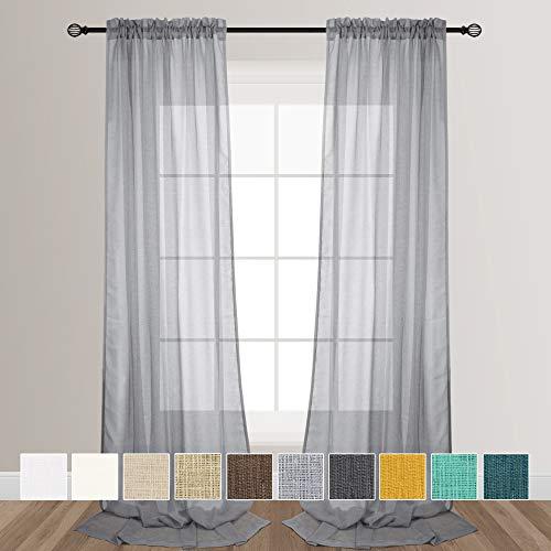 VOILYBIRD Linen Textured 108 Inch Extra Long Solid Window Sheer Curtains Light Gray Set 2 Panels 52'' x 108''
