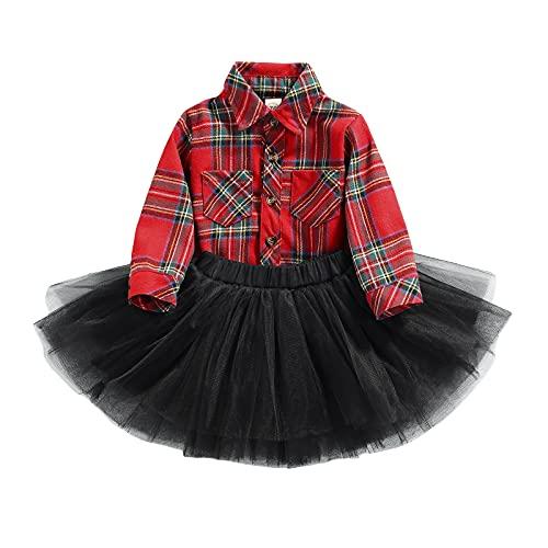 2PCs Conjunto de Falda Tutú para Bebé Niña Camisa a Cuadros de Manga Larga Cuello Solapa con Botones y Bolsillos Falda de Princesa de Tul Conjunto Casual para Niña Pequeña (Rojo, 6-12 Meses)