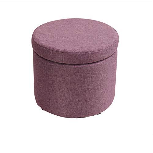 MQH Almacenamiento Foostrool Redondo Memoria tapizada Ottoman Silla Baja Cambio Cambio Zapatos Pie de Descanso Banco Maquillaje Asiento Taburete (Color : Purple)