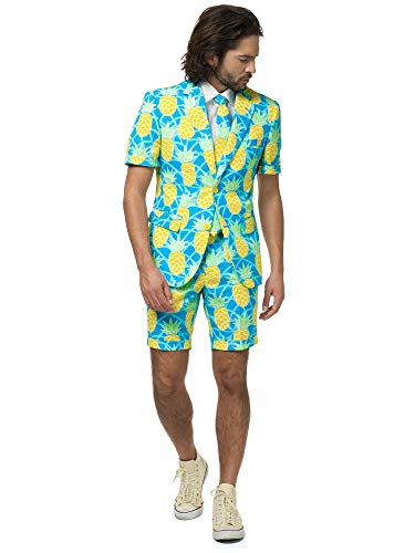 OppoSuits Herren Men Suit Business-Anzug Hosen-Set Inklusive Shorts, Kurzarmjacke & Krawatte, Shineapple, 52 EU