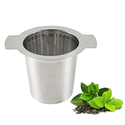 Tee-Ei, Edelstahl-Teesieb mit Doppelgriffen für losen Tee, Getreide Teekanne und Tassen