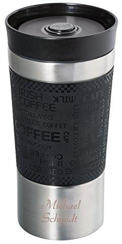 Thermobecher mit Gravur, Coffee to go Becher mit Gravur, Kaffeebecher personalisiert mit Namensgravur, 360° Trinköffnung, Edelstahl, doppelwandig 350 ml mit Quick Express Verschluss
