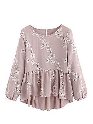 SheIn Women's Loose Ruffle Hem Peplum Short Sleeve Blouse Top Floral Pink# Large