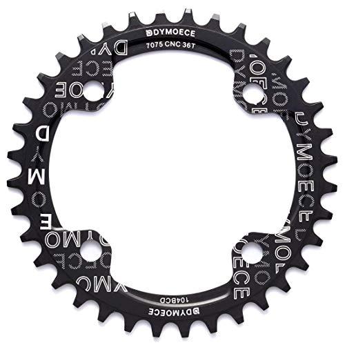 Dymoece Fahrrad Kettenblatt 104BCD 32T/34T/36T/38T für 9 10 11-Fach Runde - geeignet für die meisten Shimano- und Sram-Kurbelsätzen, Black, 32T