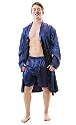 mens silky robe and boxer set dark blue