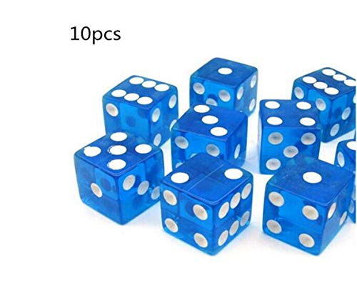 Desconocido 10 Piezas Azul Dados de Seis Lados 16 mm Cuadrado Transparente D6 Spot Dice Beads Cube para D&D RPG Table Board Table Game Game Favor Toy