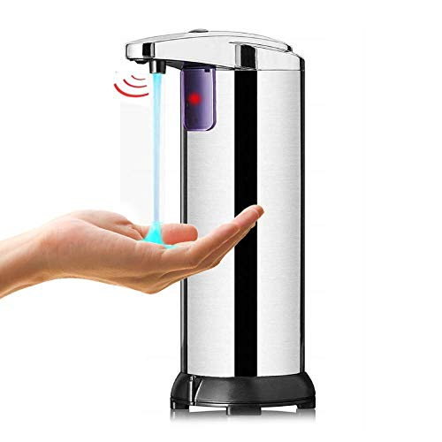 SANBLOGAN Distributore Sapone Automatico, Dispenser Sapone Liquido Automatico Dispenser Gel Disinfettante Infrarossi Touchless con Base Impermeabile per Bagno Cucina Hotel Ristorante Ufficio 250ML