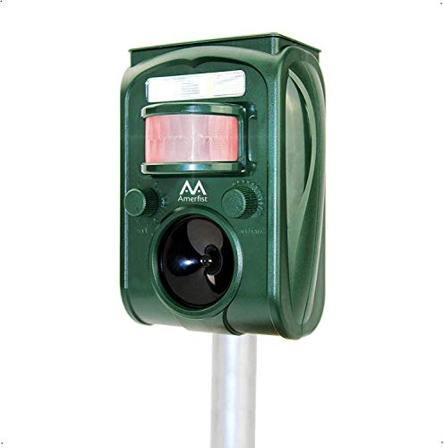 AMERFIST Solar Animal Repeller, 2021 Ultrasonic Mole Repellent, Rat, Squirrel, Deer, Raccoon, Skunk, Rabbit, Mole, Dog, Cat, Waterproof with Motion Detector, USB Rechargeable, Flashing Light (Green)