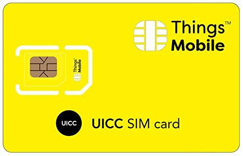 UICC DATEN-SIM-Karte für IoT und M2M - Things Mobile - mit weltweiter Netzabdeckung und Mehrfachanbieternetz GSM/2G/3G/4G. Ohne Fixkosten und ohne Verfallsdatum. 10 € Guthaben inklusive