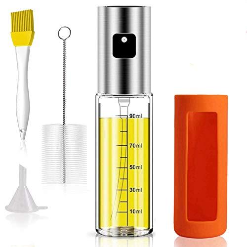 HONZUEN Dispensador de Pulverizador de Aceite con Escala, Pulverizador Aceite Cocina de Acero Inoxidable Botella de Vidrio, Pulverizador Aceite y Vinagre para BBQ Hornear Cocinar Ensalada(100 ML)