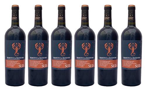 6 er Vorteilspaket SUD Primitivo di Manduria (Etikett mit Skorpion) DOP 2018 | Feudi di San Marzano | 6 X 0,75 L | Rotwein aus Italien | trocken