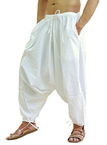 Sarjana Handicrafts Pantalones bombachos para hombres, de algodón, estilo genio, de yoga, harem, Hombre, color blanco, tamaño XL