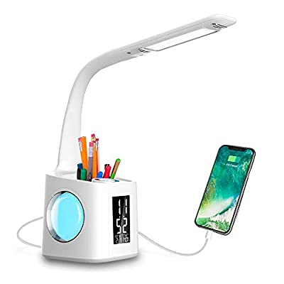 LED Desk Lamp with USB Charging Port, Night Atmosphere Lamp, Alarm Clock, Pen Holder, Thermometer, Calendar, 3-Level Dimmer Eye-Caring Table Lamp for Study/Read/Office