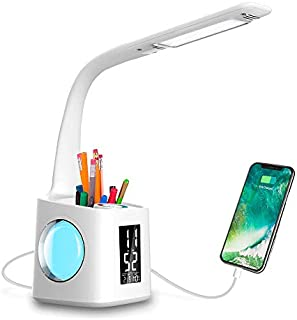 Wanjiaone Study LED Desk Lamp with USB Charging Port&Screen&Calendar&Color Night Light, Kids Dimmable LED Table Lamp with Pen Holder&Clock, Desk Reading Light for Students,10W