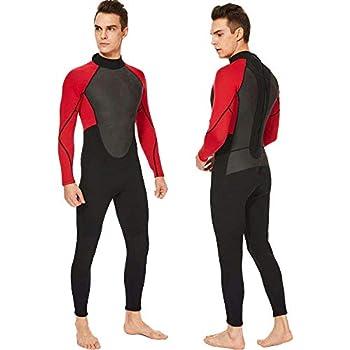 Realon Wetsuit Men Full 3mm Surfing Suit Diving Snorkeling Swimming Suit Jumpsuit  red/Black Medium
