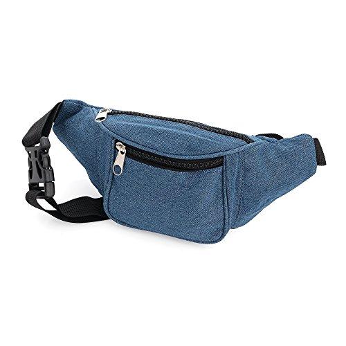 Bolsa de cintura de tela vaquera azul medio Riñonera de dinero Bum Bag Cinturón de cadera