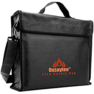 """Fireproof Document Bag, Large Fire and Water Resistant Money Bag, 15*11*3"""" Security Fireproof Bags Silicone Coated Fire Resistant Envelope Pouch Lipo Battery Bag A4 Security Fireproof Money Bags for Passport Jewelry and Valuables"""
