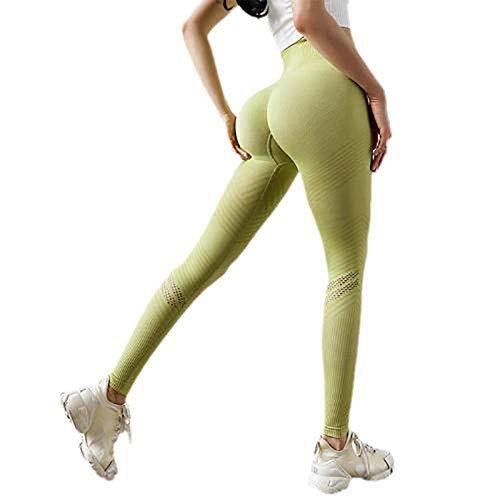BLACK ELL Leggings para Running Training,Leggings Yoga de Gran Elásticos,Medias Sexis, Pantalones de Yoga de Entrenamiento de Secado rápido-Verde_S