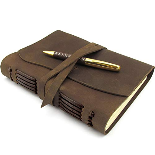 """Leather Journal Writing Notebook A5 Vintage Handmade Leather Bound Notepads for Men for Women Antique Leather Travel Diary 8""""x6"""" - Unlined Paper Gift Note Book Write in Art Sketchbook - Pen + Holder"""