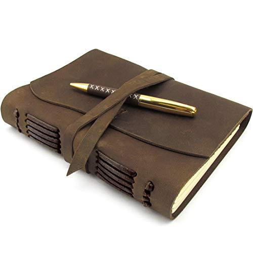 Diario De Cuero, Diario De Viaje, A5 Cuaderno De Escritura Hecho a Mano Vintage Para Hombres Mujeres y Viajeros Antiguo y Suave Cuero Rústico 20x15cm Perfecto Para Escribir Poesía, Bolígrafo