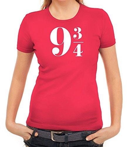 Damen Frauen T-Shirt Rundhals Harry 9 3/4, Größe: S,pink