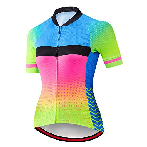 Short Sleeve Cycling Jersey for Women with Pockets,Quick Dry Elastic Breathable Cycle Bicycle Jerseys Anti-Sweat MTB Mountain Bike Shirt