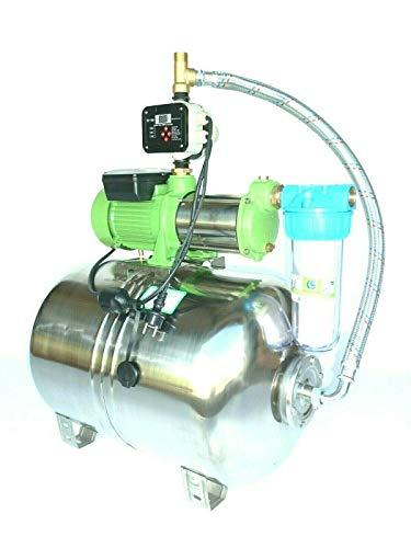 Premium Hauswasserwerk Edelstahl/INOX 100 Liter + Vorfilter mit Kreiselpumpe HMC-170 1500 Watt INOX 10800l/h - 180l/h - Förderh.: 65m, Druck 5,5bar + digitale Pumpensteuerung CH18A Trockenlaufschutz.
