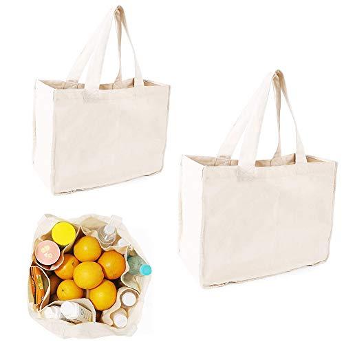 NAECOUS - Bolsas de lona, bolsas de compras con asas, bolsas de tela, bolsas de comestibles reutilizables para compras, bolsas de algodón, lavables y ecológicas (2 bolsas)