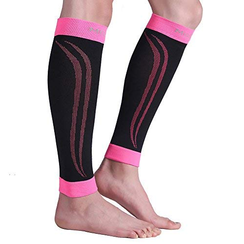 Calf Compression Sleeve, 1 Pair Unisex, Strong Calf Support 20-30mmHg, Best for Calf Pain & Swelling Relief, Shin Splint, Varicose Veins, Muscle Recovery, Travel, Nursing, Running, Cycling, Pink XXL