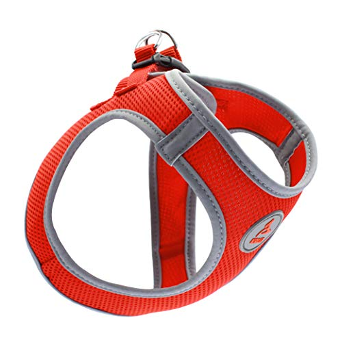 KRUZ PET KZA306-08L Reflective Mesh Dog Harness, No Pull, Easy Walk, Quick Fit, Comfortable, Adjustable Pet Vest Harnesses for Walking, Training, Small, Medium Dogs - Orange - Large