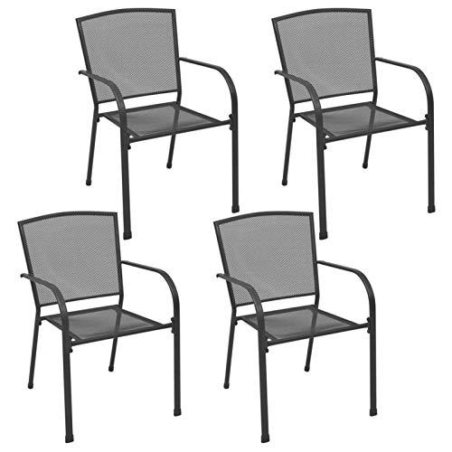 CCLLA Sillas de Exterior Sillas de jardinería Sillas de Comedor de Cocina 4 Piezas Diseño de Malla Acero Antracita