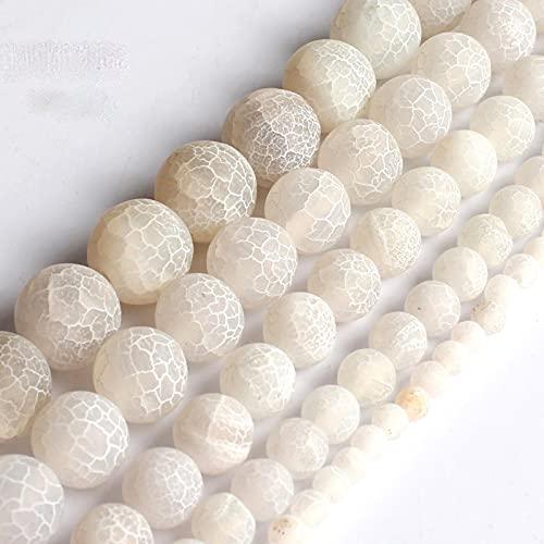 NHFVIRE Blanco Agata Agata Onyx Redondear Cuentas Sueltas para la fabricación de Joyas Bricolaje 15 Pulgadas Pinte el tamaño 4/6/8/10 / 12mm 6mm 61pcs Beads