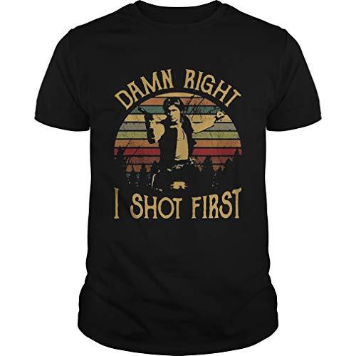 72871725Sunset Vintage Han Solo Stárs War Damn Right I Shot First Unisex Summer Fashion Shirt Teen Girl Trendy Shirt Old Fashioned Hot Fashionable Comfy Shirt Gift Ideas
