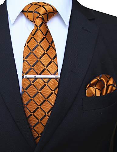 JEMYGINS Orange seide Krawatte und Einstecktuch mit krawattenklammer Set für Herren Seidenkrawatten Hochzeit Schlips (11)