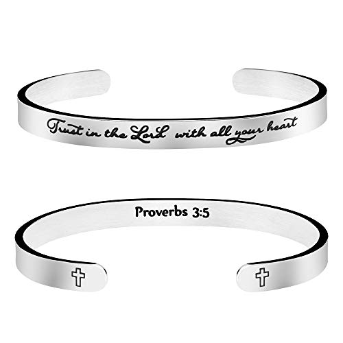 Joycuff Scripture Jewelry Bible Verse Bangle Bracelet Religious Gift for Women Trust in The Lord with All Your Heart