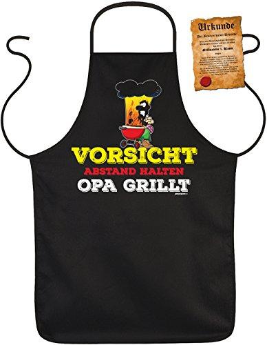 Fun Grillschürze: Vorsicht Abstand halten Opa grillt - schwarze Grill- und Kochschürze mit gratis Urkunde