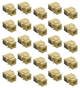 ICC Voice RJ11 Keystone Jack for EZ Style, Ivory, 25-Pack