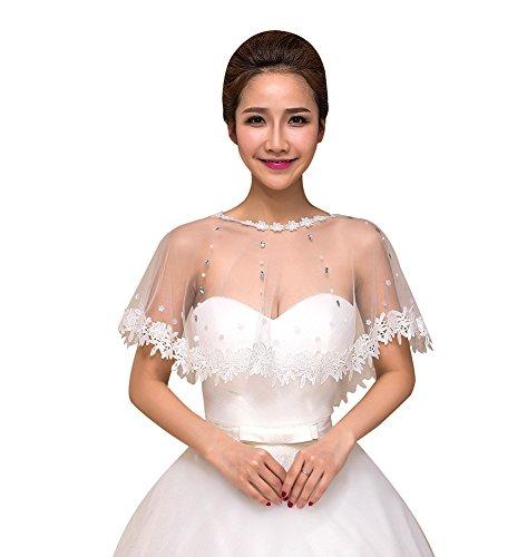 SK Studio Damen Braut Boleros Spitzejacke Mit Strass Transparent Bestickt Bolero Top Für Brautkleid Weiß Cape Spitzen Tüll Jacke