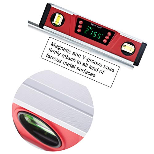 10-Inch Digital Torpedo Level and Protractor   Neodymium Magnets   Bright LED Display   V-GROOVE MAGNETIC BASE   IP54 Dust/Water Resistant smart level with Carrying Bag
