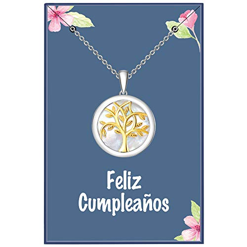ENGSWA Collar Mujer Plata de Ley 925 Colgante Árbol de la Vida Familiar de Nácar Regalo para Madre Mamá Abuela Hija Niña Esposa Novia