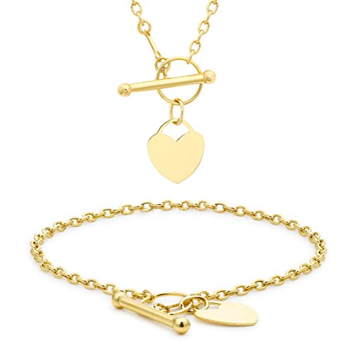 Carissima Gold 9ct Yellow Gold Mini Heart T-Bar Necklace and Bracelet Set (46cm/18' and 18cm/7')