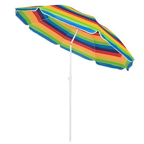 SPRINGOSⓇ Sonnenschirm|Bunt|max. Höhe 175 cm|Ø 160cm|Strandschirm mit Kippfunktion|Gartenschirm|Multicolor Regenbogen-Sonnenschirm (Multicolor)