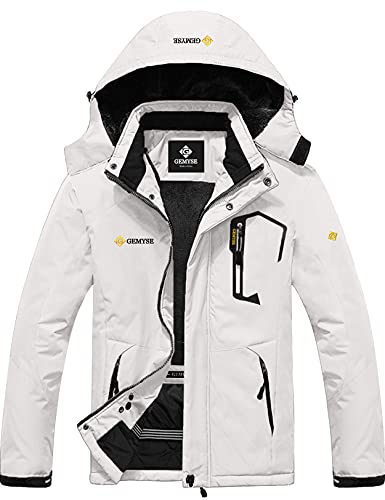 GEMYSE Chaqueta de Esquí Impermeable de Montaña para Hombre Abrigo de Invierno de Lana Antiviento con Capucha (Blanco 01,M)
