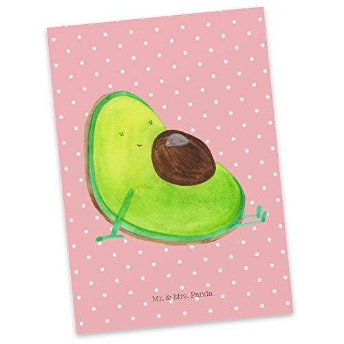 Mr. & Mrs. Panda Carta Regalo, Biglietto d'auguri, Cartolina Postale Avocado Incinta - Colore Pastello Rosso