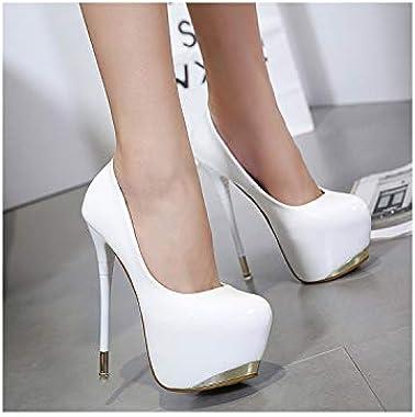 kylebetter2 Women's Super High Heels Night Club Pumps High Heeled Leather Single Shoes Shallow